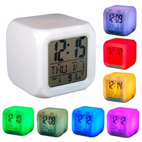 Reloj Cubo Luminoso Despertador Digital Colores