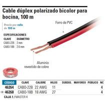 Cable Dúplex Polarizado Bicolor Para Bocina, 100 M, 18 Awg