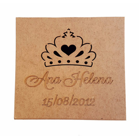 Caixa 5x5x5 Coroa Menina Mdf Crú Nome/data Lembrancinhas R14