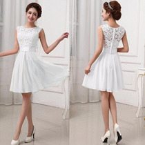 Vestido Blanco Fashion Bordado Chiffon+lace Fiesta Grados Co