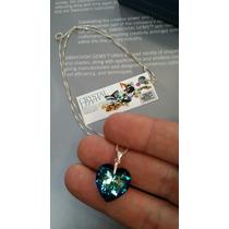 Corazón De Cristal Swarovski Doble Facetado Cadena Plata 925