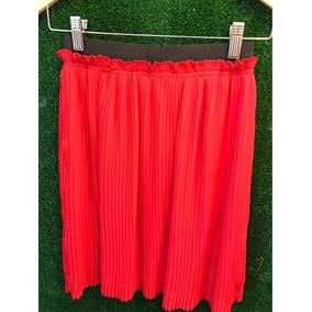 Pollera Plisada Roja Con Elástico Negro De Gasa Talle S