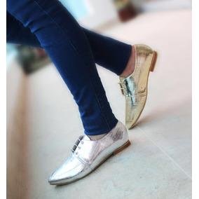 Zapatos Para Mujer Tipo Bolichero Plata
