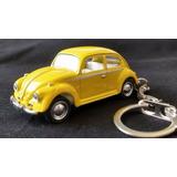Chaveiro Mini Fusca Volkswagen Amarelo Carrinho 1/64