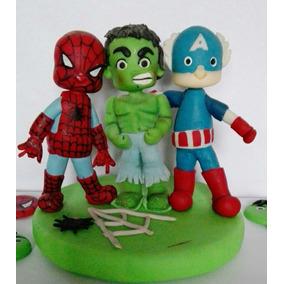 Adorno Torta Super Heroes Hombre Araña Hulk Capitan America