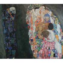 Lienzo Tela Gustav Klimt Pintura Muerte Y Vida 50 X 58 Cm