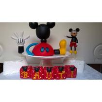 Casa De Mickey Mouse + Mickey Adorno De Torta Porcelana Fria
