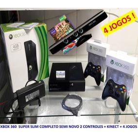 Xbox 360 Super Slim Kinect 2 Controles S/ Fio 4 Jogos Origin