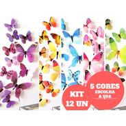 Adesivo Parede Borboleta 3d Kit 12un Decoração Cores