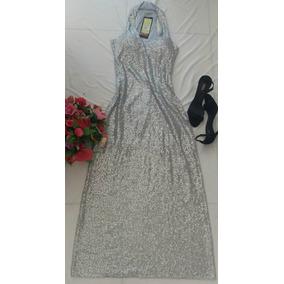 Vestido De Festa Longo Paetê Prata