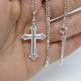 Corrente Cordão Cartier 80cm Masculino E Crucifixo Prata 925