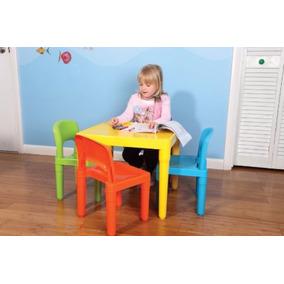 Mesa Infantil Con 4 Sillas De Colores Para Kinder Estancia