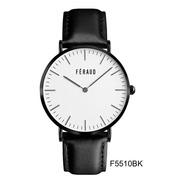 Reloj Feraud F5510bk Hombre Acero Inoxidable Y Cuero Genuino