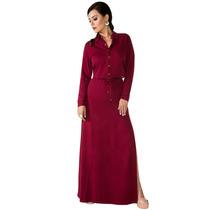 Oferta Vestido Vestido Longo Bordô Moda Evangélica Sarja