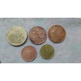 Lote 5 Moedas 500 Pesetas, One Penny, Two Pence, 1 Peso