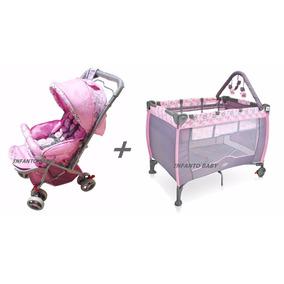 Carrinho Bebê Berço Passeio + Berço Cercado C/ Troc. Móbile