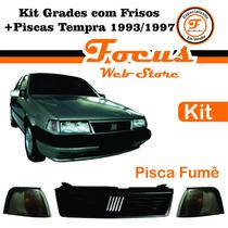 Kit Grade Com Frisos + Piscas Fumê Tempra 93 94 95 96 97
