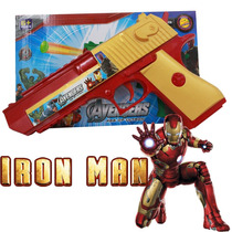Arma Brinquedo Pistola Nerf Dardo Homem De Ferro + 3 Dardos