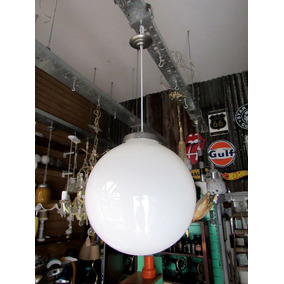 Retro Lámpara Opalina Globo Blanco Grande 40 Cm Diam