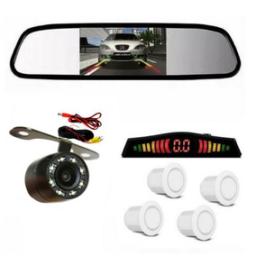 Kit Retrovisor Lcd Camera Visao Noturna + Sensor Re Branco