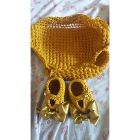 Calcinha E Sapatinho Em Crochê Dourado