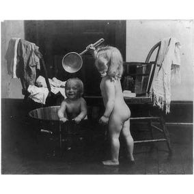 Foto Mañana De Baño, Desnudo Infantil, Bañera De Madera, Ol