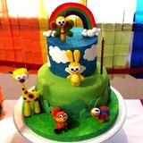 Torta Baby Tv 2 Pisos + 6 Adornos De Porcelana