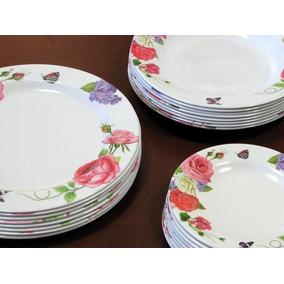 Jogo Jantar Melamina Plástico Floral 24 Pratos