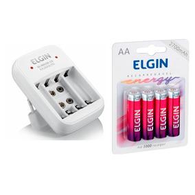 Carregador Elgin + 4 Pilhas Recarregáveis Elgin Aa 2700