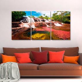 Cuadros Decorativos Cascada En Rio Cristales Rojos 3pz 40x60