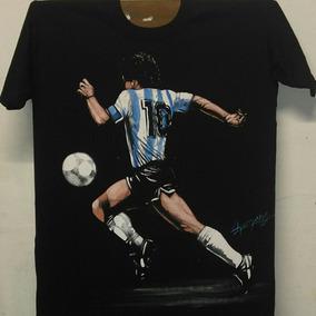 Remera De Diego Maradona Pintada A Mano.