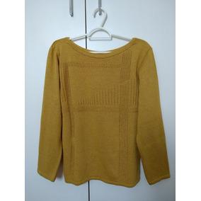 Blusa De Frio / Malha Feminina Em Tricot Bege / Amarelo Ouro