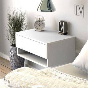 Mesa De Luz Flotante Con Cajon Y Estante De Diseño Moderno