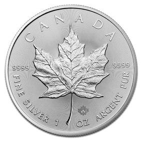 Moeda De Prata 1oz Maple Leaf Canadá Original
