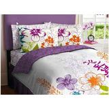 Púrpura, Verde, Naranja Amp; White Girls Multi Flor Complet