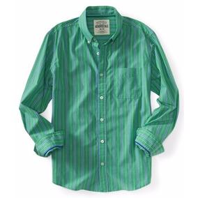 Aéropostale Liq Camisa Verde Rayas Azules S 03/18