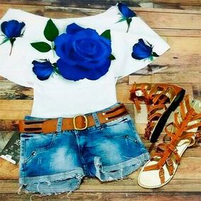 Blusa Campesina Rosas Azules