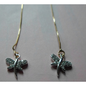 Aretes Bitono Rodio-oro 14k Circonias Blancas Libelulas