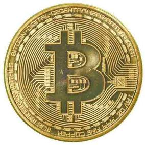 Moeda Bitcoin Física Banhada À Ouro 18k Bit Coin Btc Gold