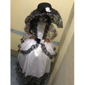 Disfraz De Catrina Dia De Muertos Calaca Incluye Sombrero