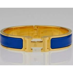 01298fae621 Bracelete Hermes Clic Clac Amarelo Com Dourado - Pulseiras e ...