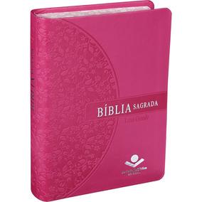 Bíblia Feminina Evangélica Letra Grande Borda Florida Pink