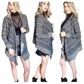 Kimono Cardigan Blusa Trico Tricot Lã Feminino Inverno Boho