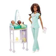 Barbie Profissões Pediatra Negra C/ 2 Bebês Mattel Ms