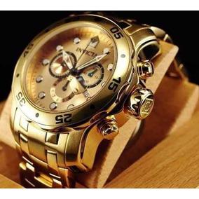 Relógio Luxo Invicta 0074 Pro Diver Gold Original 023