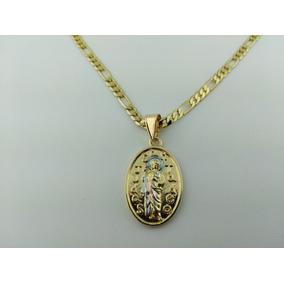 77ca067566f Medallita De San Judas Tadeo De 3 Tonos En Oro Laminado 14k