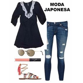 Bluson Negro Moda Japonesa Encaje Mediano Bazarhadasa