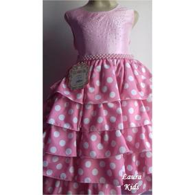 Vestido Minnie Rosa Festa Infanto Juvenil Com Pérolas Festa