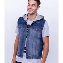 Colete Jeans Com Capuz Em Moleton Masculino