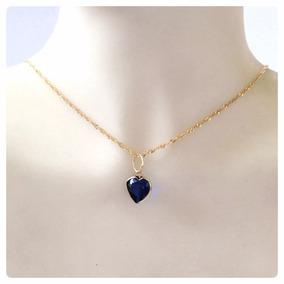 Conjunto Cordão Pingente Coração Pedra Azul Safira Ouro 18k